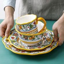 Керамическая тарелка ручной росписи желтая посуда для микроволновой