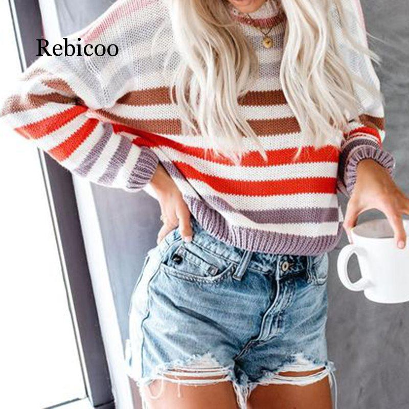 Fall Boho Casual Blue Travel Plus Size Sweaters Women Loose Thin Stripe Pullover Wool Office Ladies Female Fashion  Tops