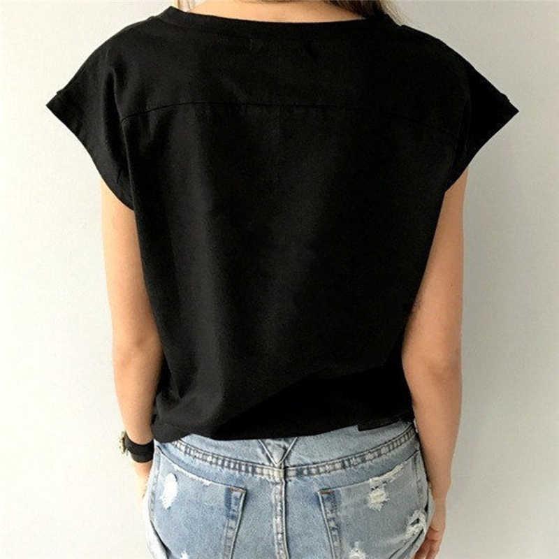 Camiseta básica de mujer con cuello en V para señora Simple camiseta de manga corta de verano femenino de alta calidad suave transpirable