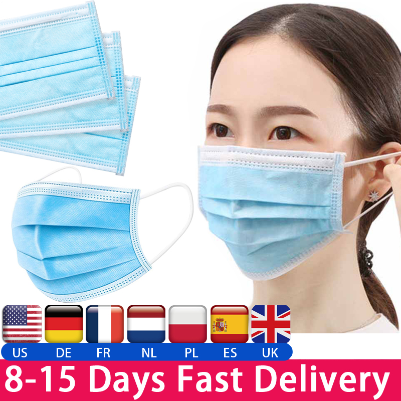 Protective Face Mouth Mask Disposabl Waterproof Dustproof Mouth Mask 95% Meltblown Cloth 3-layer Protection Dustproof Cloth