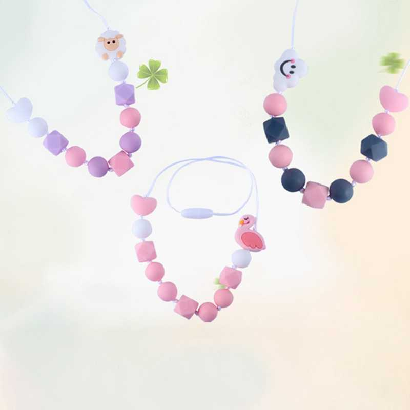 Cartoon Animal Necklace Baby Teething Necklace Baby Silicone Teether Pacifier Chain Silicone Bead BPA Free