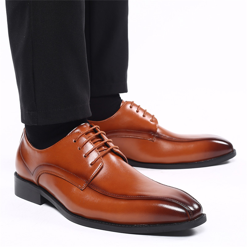 Autumn Lace-Up Men Leather Shoes Italian Vintage Formal Dress Shoes Business Office Wedge Big Size Loafers Wedding Oxfords