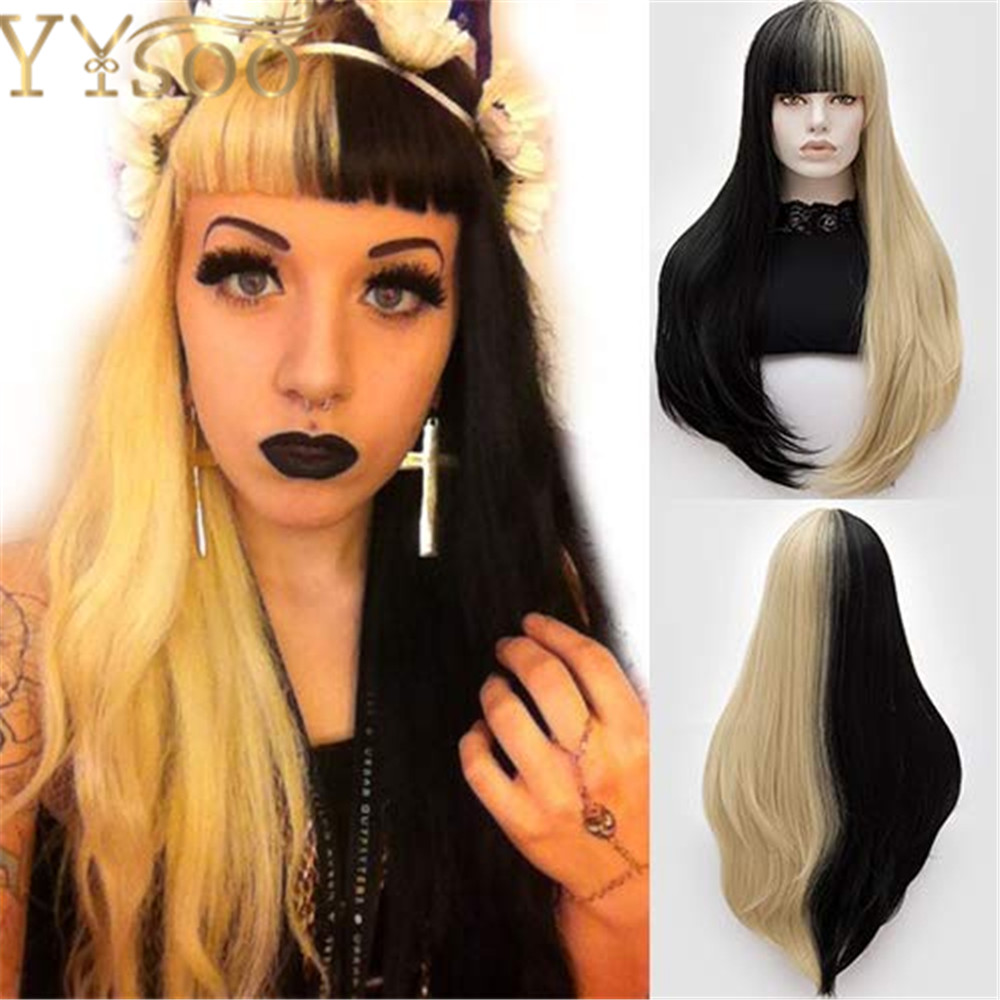 YYsoo Synthetic Cosplay Long Straight Wig Fashion Half Black Half Blonde Wigs With Bangs High Temperature Heat Resistant Fiber
