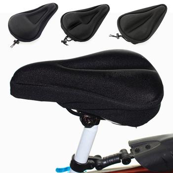 3D miękki silikonowy pokrowiec na siodełko rowerowe oddychający rower siodło zagęszczony MTB siodełko rowerowe poduszka siodełko rowerowe akcesoria rowerowe tanie i dobre opinie CAR-partment Rowery górskie High quality silicone Mountain Bike Seat Cover 18*30cm Inne Black 15 5g