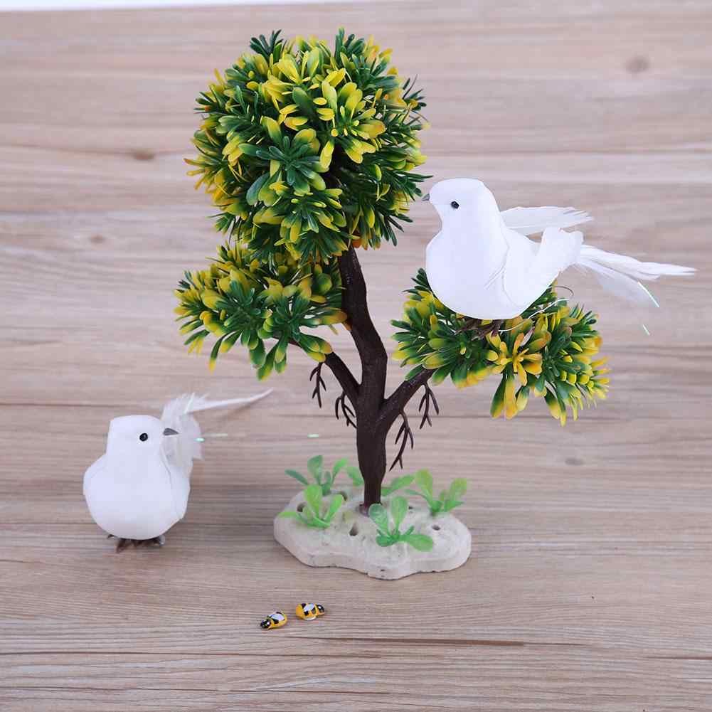2Pcs Artificial White Feather Bird Clip on Christmas Tree Xmas Home Party Decor