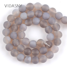 Natural Matte Gray Agates Round Beads For Jewelry Making 4 6 8 10 12mm Dull Polished Spacer Diy Bracelet Necklace 15