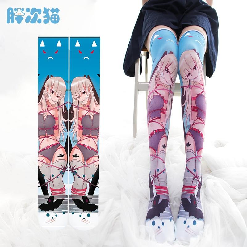 Japanese Anime Cartoon Fetter Loli Dark Punk Overknee Stockings Lolita Women Velvet Long Stocking Teen Girls Student High