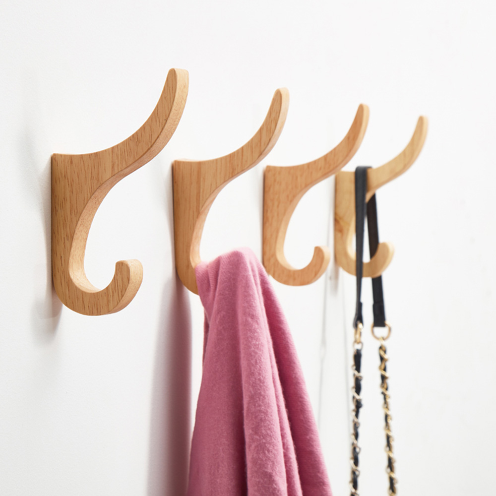 2/4pcs Key Holder Hat Scarf Handbag Storage Hanger Natural Wood Clothes Hanger Wall Mounted Coat Hook Decorative Bathroom Rack