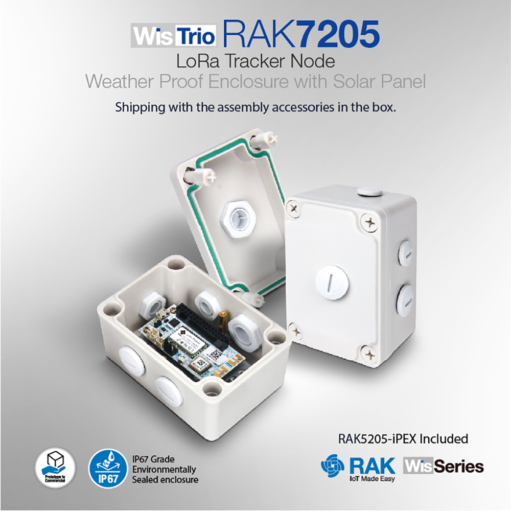 WisTrio LoRa Tracker Node With Weather Proof Enclosure Lora GPS Antenna Built In Semtech SX1276/78 RAK7205