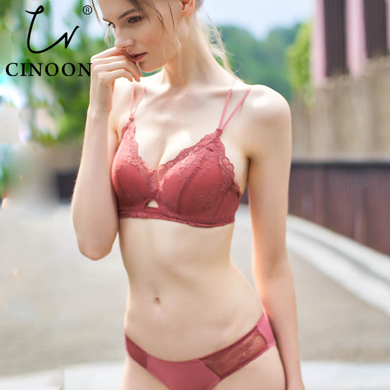 CINOON New Lace Lingerie Hollow out Brassiere French Lace Wire Free   Bra     Set   Sexy Embroidery Women Underwear   Sets   Push Up   Bras