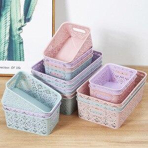 2020 New Storage Baskets Plastic Cosmetics Storage Box Hollow Drawer Desk Storage Rack Desktop Skin Care Storage Box
