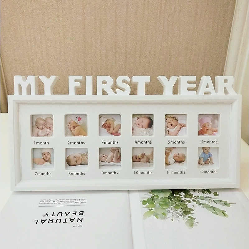 """Creative DIY 0-12 Month Baby """"MY FIRST YEAR"""" Pictures Souvenirs Commemorate Kids Growing Memory Gift Display Plastic Photo Frame"""