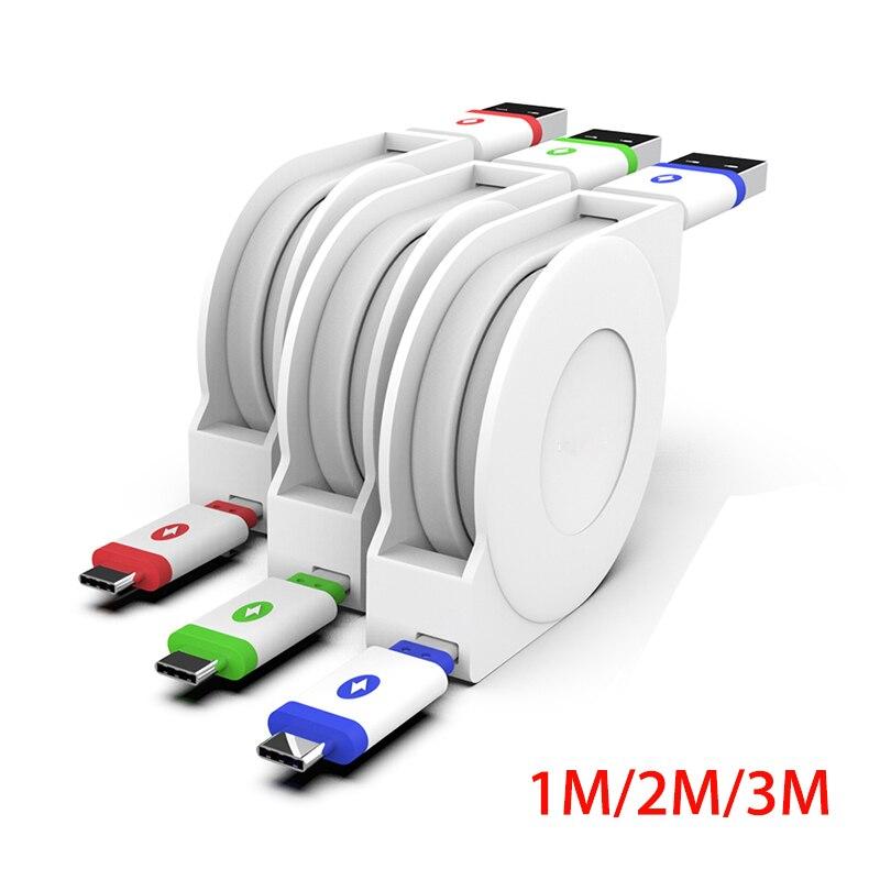 USB-кабель Type-C, 2 м, 3 м, выдвижной кабель для Samsung, Huawei, Xiaomi, портативный зарядный кабель Type-C, мобильный телефон, кабели для зарядки