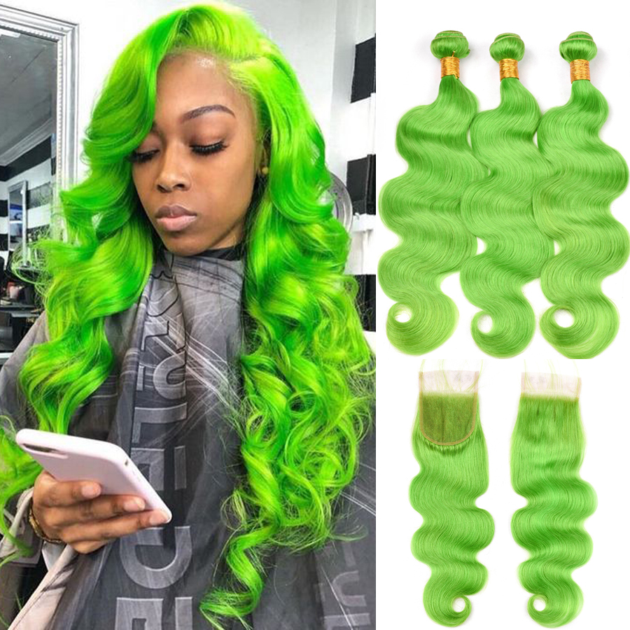 Bundles With Closure Pre Colored Green Body Wave Human Hair Bundles With Lace Closure Brazilian Remy Hair Bundles
