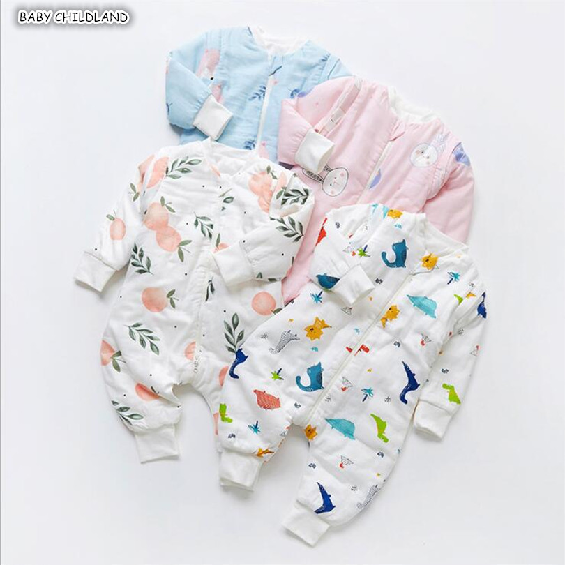 Baby Sleeping Bag Winter 100% Muslin Toddler Sleeping Bag Thick Baby Sleepsacks Full Sleeve Infant Baby Toddler Sleep Sack 1-5Y