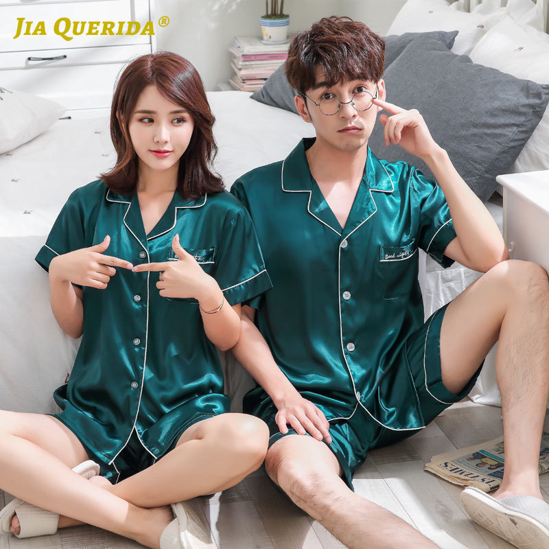 Front Pocket Green Pajamas Set Homesuit Homeclothes Sleepwear Couple Man And Woman Turn Down Collar Fashion Style Casual Style