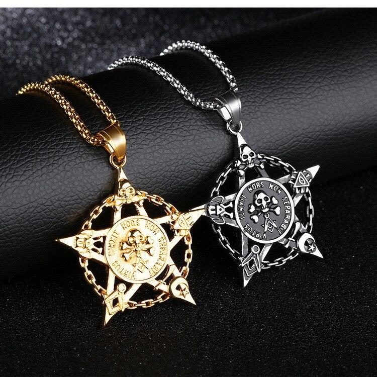 Fashion Retro Pentagram Pan God Skull Gold Goat Head Pendant Necklace Luck Satanism Occult Metal Vintage Silver Star