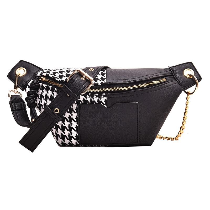 Fashion Waist Bag Houndstooth PU Leather Fanny Pack  Bananka Women Satchel Catwalk Women Belly Band Belt Bag