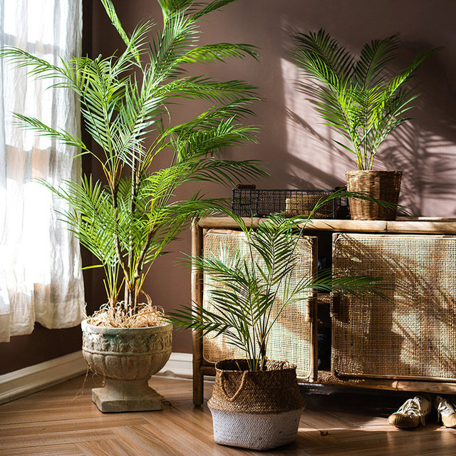 125cm Tropical Palm Plants Large Artificial Tree Branches Plastic Fake Leaves Green Monstera For Home Garden Room Office Decor