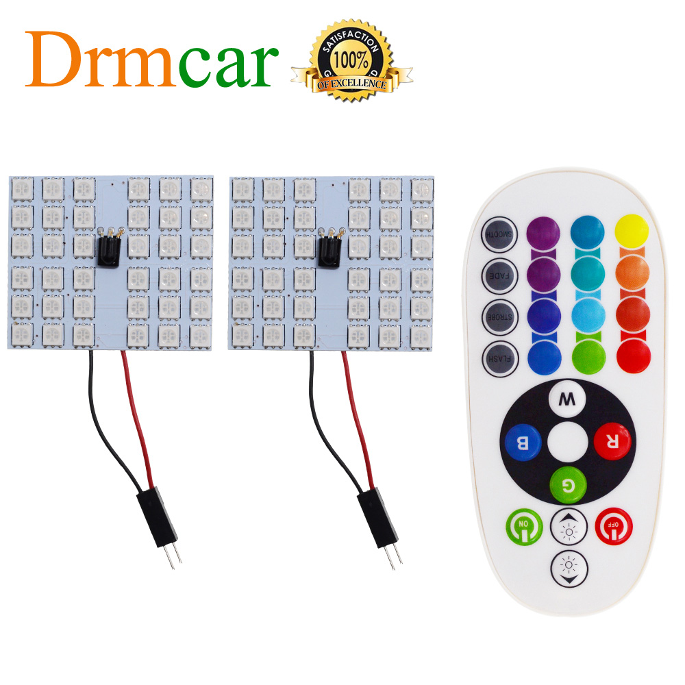 T10 RGB 5050 12SMD Auto Led fernbedienung Rgb auto led-panel innen Auto lichter Lesen Dome Girlande BA9S <font><b>Adapter</b></font> DC 12v Licht image