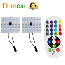 T10 Rgb 5050 12SMD Auto Led Afstandsbediening Rgb Licentie Panel Interieur Auto Lamp Reading Dome Festoen BA9S Adapter Kofferbak lamp