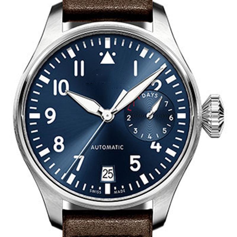 Leather Luxury Fashion Brand Men Automatic Mechanical Pilot Stainless Steel Mens Designer Master Watch Men Wristwatch Watches