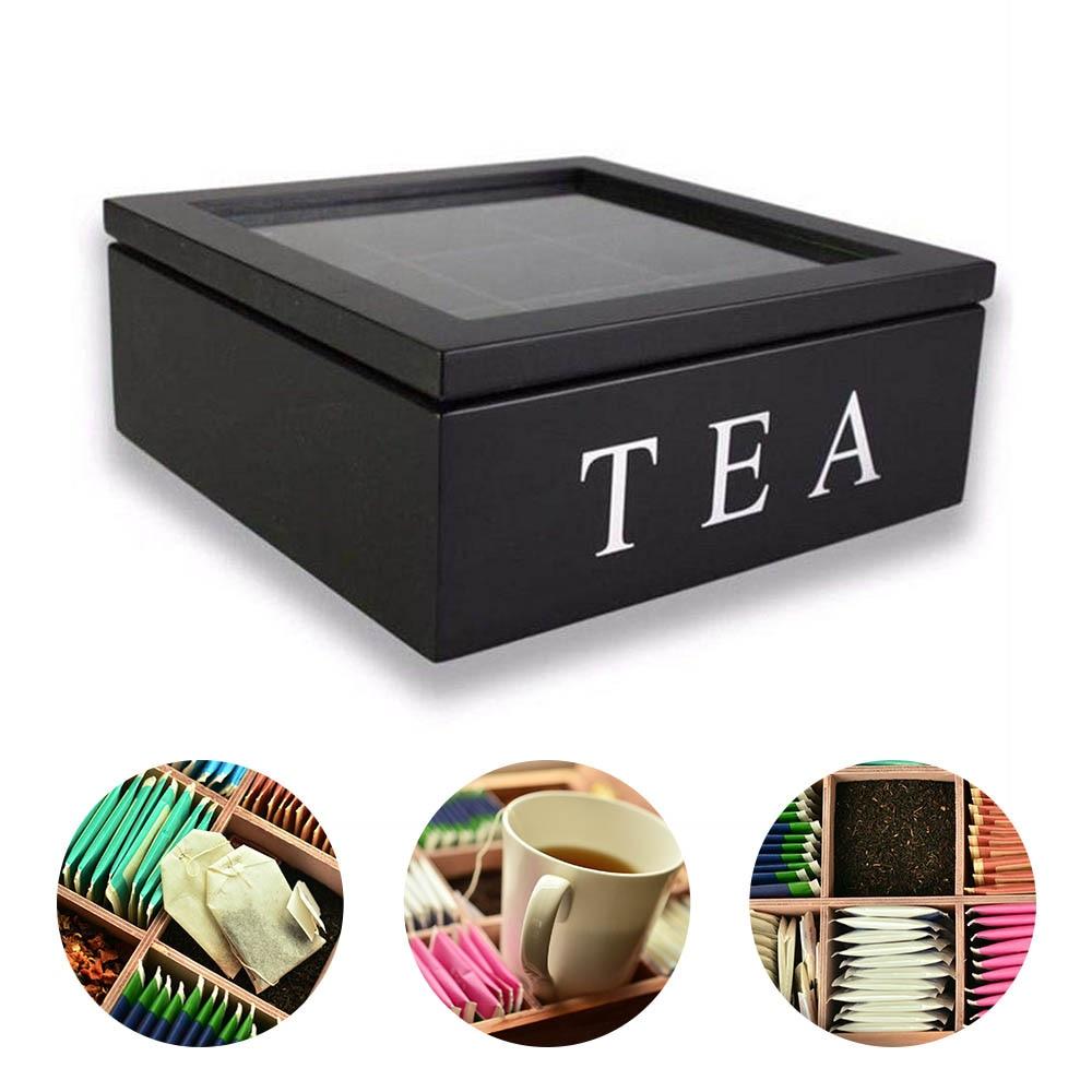 תה תיק תכשיטי מארגן אחסון תיבת תאים תה תיבת מארגן עץ סוכר מנות מיכל תה קפה מיובש פרחים קופסות