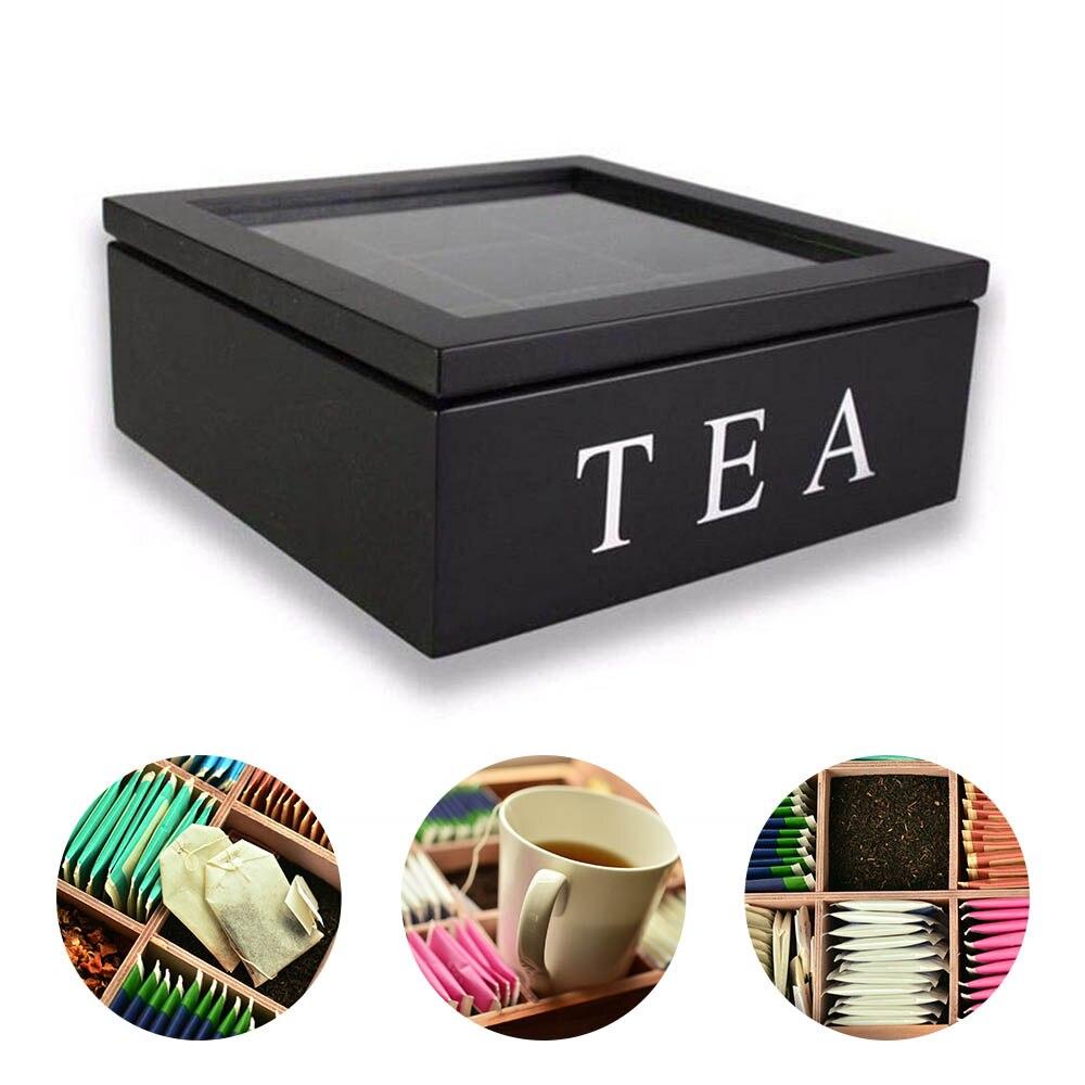 Bolsa de té organizador de joyas caja de almacenamiento compartimentos caja de té organizador de madera Paquete de azúcar contenedor té y café cajas de flores secas