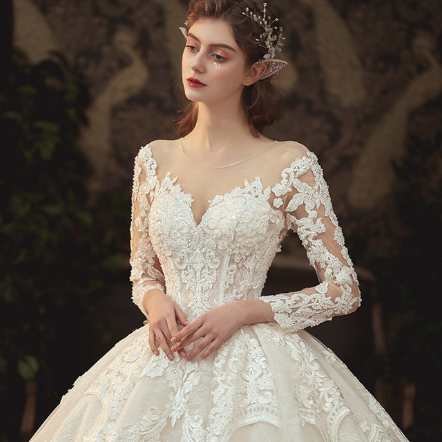 Beading Pearls Appliques Lace Illusion Princess Ball Gown Wedding Dress With Long Sleeve Vestido De Noiva Princesa 4