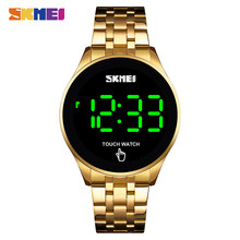 SKMEI Luxury Stainless Steel Men Digital Watch Creative LED Touch Screen Clock Waterproof Male Wristwatches Relógio de homem(China)