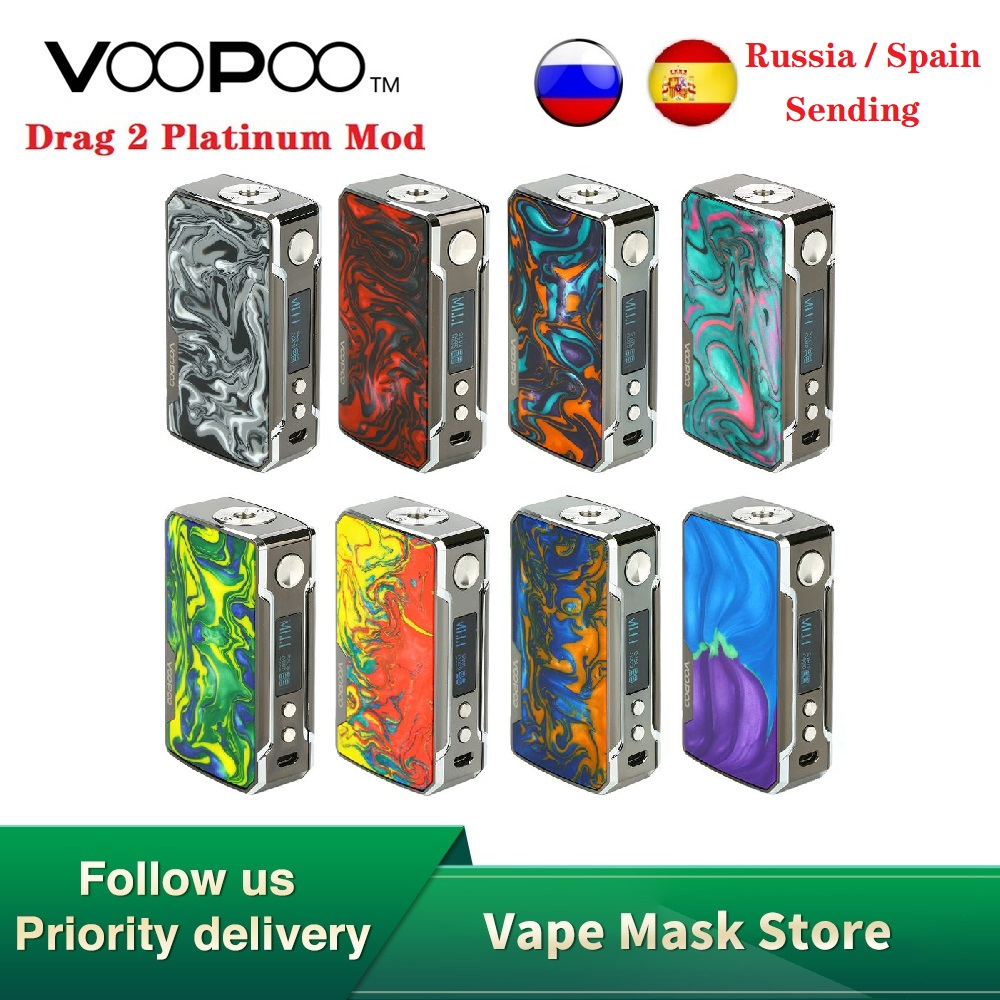 Original VOOPOO Drag 2 Platinum 177W TC Box MOD Power By 18650 Battery Vape Vaporizer Voopoo Mod Vs Gen Mod / Swag 2 / Drag 157W