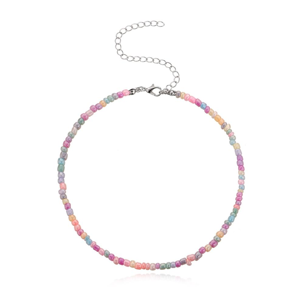 Handmade Beaded Elastic Choker Necklace Bohemian Colorful Beads Chain Necklaces for Women Summer Fashion Jewelry XL1089