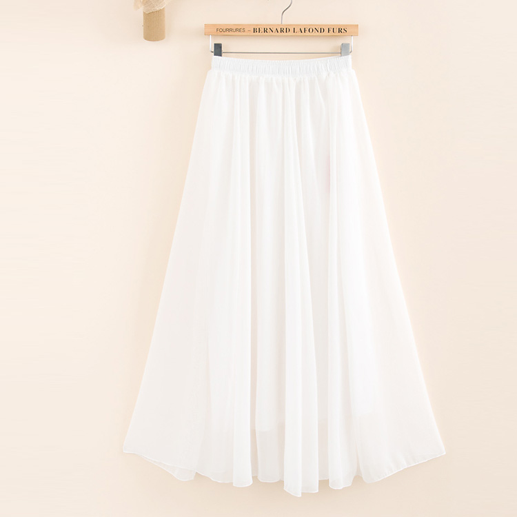 2019 Two Layer Women Summer Skirt High Waist Vintage Pure Color Women Long Skirt Saias Femme Boho White Chiffon Maxi Skirt White