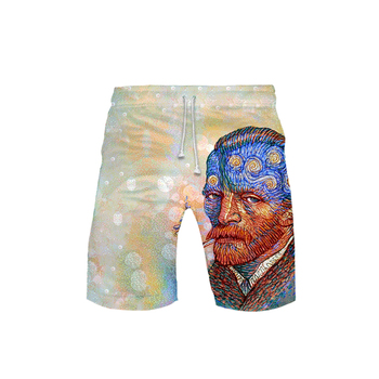 Van Gogh Men's Shorts Michelangelo Pants mona lisa Renaissance Oil painting Artist kids Beach Shorts Roman Cool Summer shorts jeanne kalogridis painting mona lisa