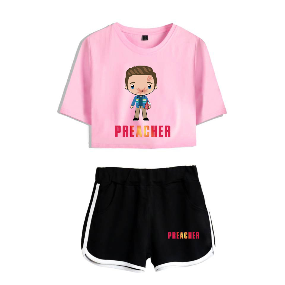 Preacher Exposed Navel Pink T-shirt+black Shorts Women's Two-piece Summer Cotton High Quality Women's Two-piece Suitable Sets