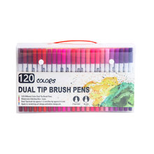 120 Color FineLiner Dual Tip Brush Pen Felt-Tip Pen Drawing Painting Watercolor Art Marker Pens For School Stationery Supplies