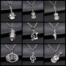 Regalo de joyería Musical para Mujeres Hombres niñas niños nota Musical micrófono tambor guitarra violín collar antiguo con colgante Color plata
