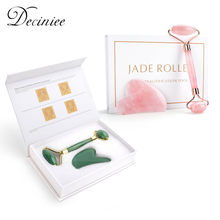 Natural rosa de quartzo jade rolo facial corpo massageador rolo pedra jade gua sha placa raspador face lifting beleza massagem ferramenta