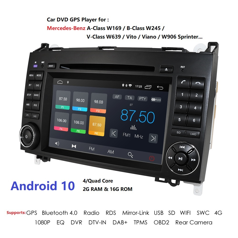 Android 10 2 Din Car Multimedia Player GPS For Mercedes/Benz/Sprinter/B200/B-class/W245/B170/W169 Radio SWC DAB+ DSP RDS DTV BT