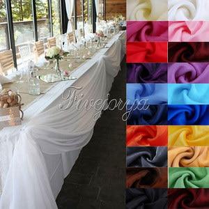 Image 2 - 5Pcs/Lot 5M*1.4M Top Table Organza Swag Sheer Organza Fabric DIY Material Wedding Party Banquet Table Top Stair Decor