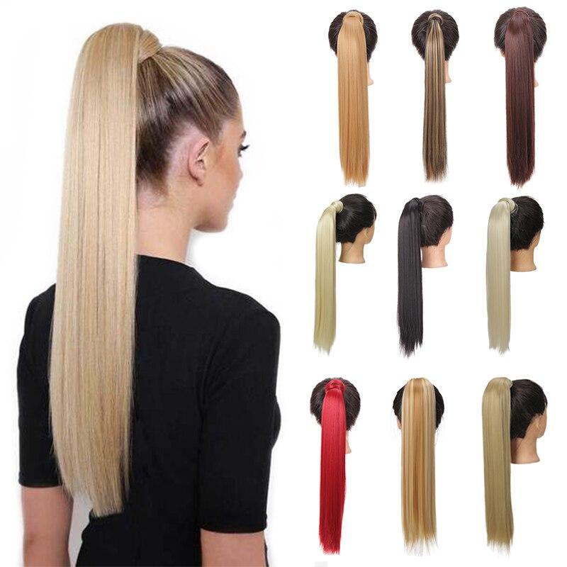 Женские длинные прямые волосы JINKAILI, синтетические волосы для наращивания хвостиком с черным, светлым и коричневым цветом