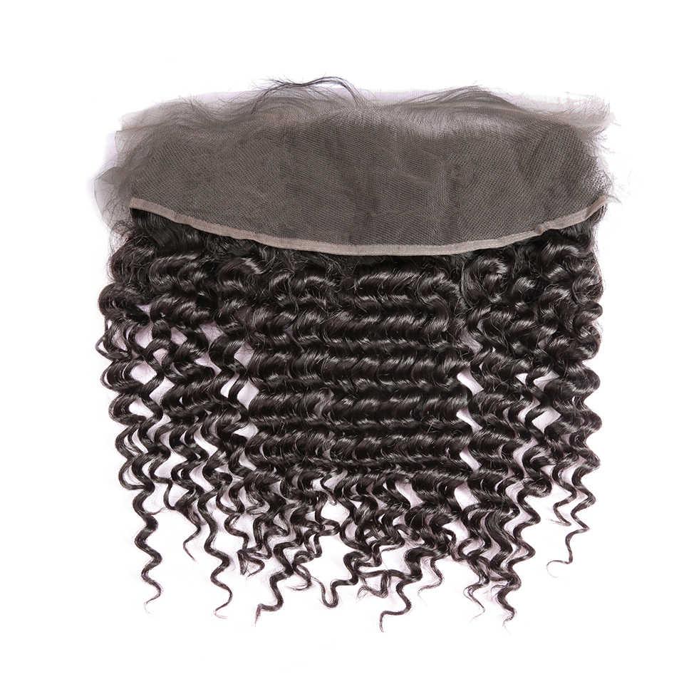 CURLY Bundles กับ Frontal Remy Human Hair Bundles กับ Closure Deep WAVE บราซิลทอผมปิด DJSbeauty