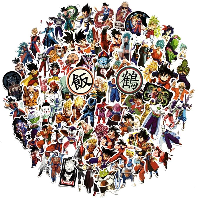 100 pçs dragon ball super anime dos desenhos animados saiyan goku etiqueta da guitarra do skate mala motocicleta graffiti adesivo diy