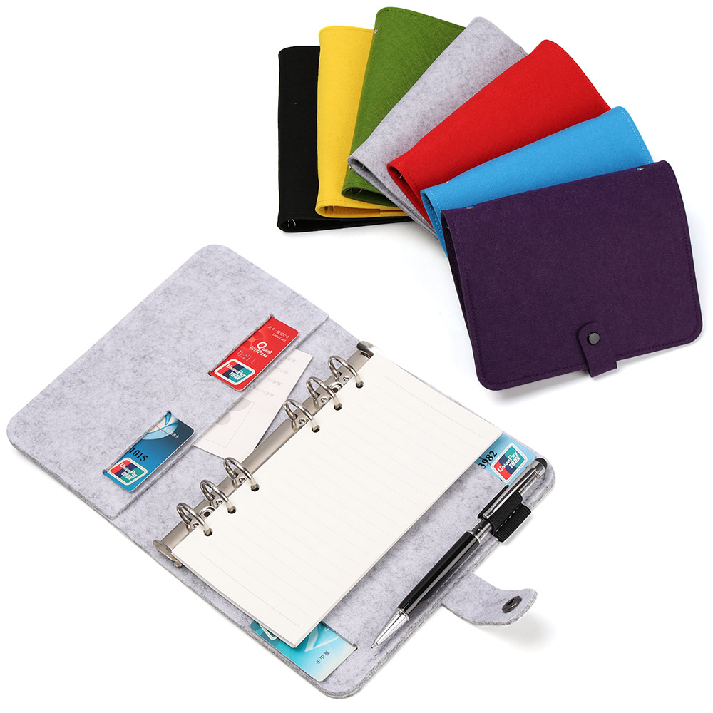 1Pcs A5 A6 Felt Shell Notebook Cloth Fabric Paper Planner Inner Page Ring Binder Desktop Paper Holder Portable Diary Gifts