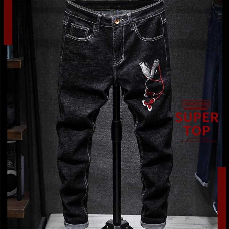 New Style Jeans Men 100% Cotton Embroidery Black Men Pants Slim Fit High Quality Free Shipping #80077