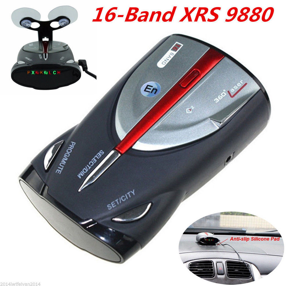 12V 16-Band Cobra XRS 9880 Laser Anti Radar Car Detector 360 Angel Led Display