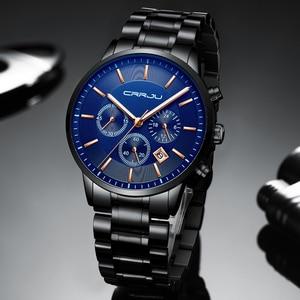 Image 3 - CRRJU New Fashion Men Watch Classic Business Multifunction Chronograph Quartz Wristwatch Casual Waterproof Stainless Steel Clock