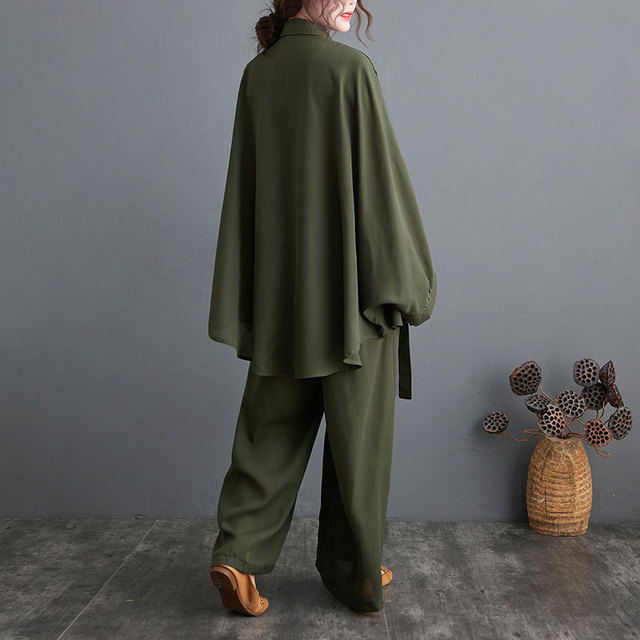 Two Piece Set Casual  Shirts Pockets Loose Long Pants Oversized  4