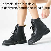 Women Ankle Boots winter warm Riding Equestr Shoes Woman fur inside Artificial Leather Lace Up Shoes platform plus Size 43 44