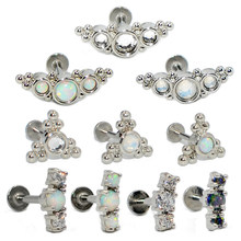1PC Titanium&Steel Opal Gem Ear Tragus Helix Cartilage Earring Stud Labret Bar Ring Lip Bar Fashion Zircon Body Piercing Jewelry(China)